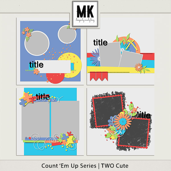 Count 'em Up Templates - Two Cute Digital Art - Digital Scrapbooking Kits