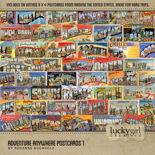 Adventure Anywhere Postcards 1 Digital Art - Digital Scrapbooking Kits