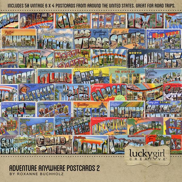 Adventure Anywhere Postcards 2 Digital Art - Digital Scrapbooking Kits