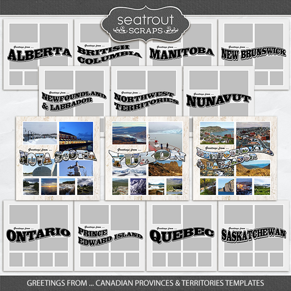 Greetings From Canada Provinces And Territories Digital Art - Digital Scrapbooking Kits