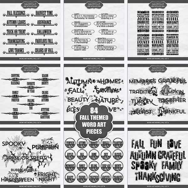 Word Art Works - Fall Bundle Digital Art - Digital Scrapbooking Kits