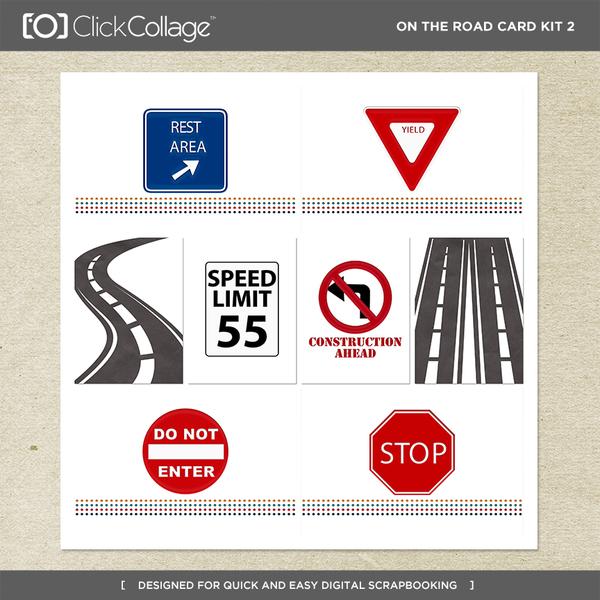 On The Road Card Kit 2 Digital Art - Digital Scrapbooking Kits