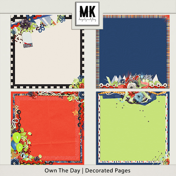 Own The Day - Decorated Papers Digital Art - Digital Scrapbooking Kits