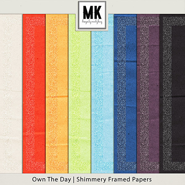 Own The Day - Shimmer Frame Paper Pack Digital Art - Digital Scrapbooking Kits