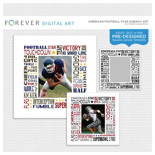 American Football Star Subway Art Digital Art - Digital Scrapbooking Kits