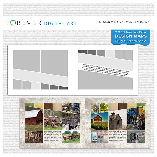 Forever Design Maps 28 11x8.5 Digital Art - Digital Scrapbooking Kits