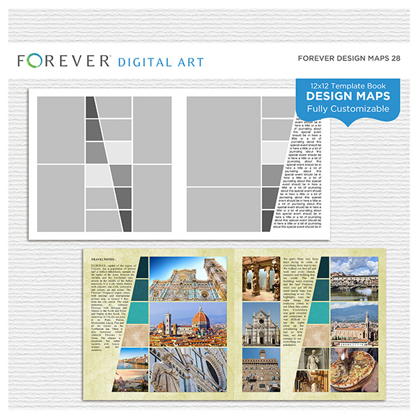 Forever Design Maps 28 12x12 Digital Art - Digital Scrapbooking Kits