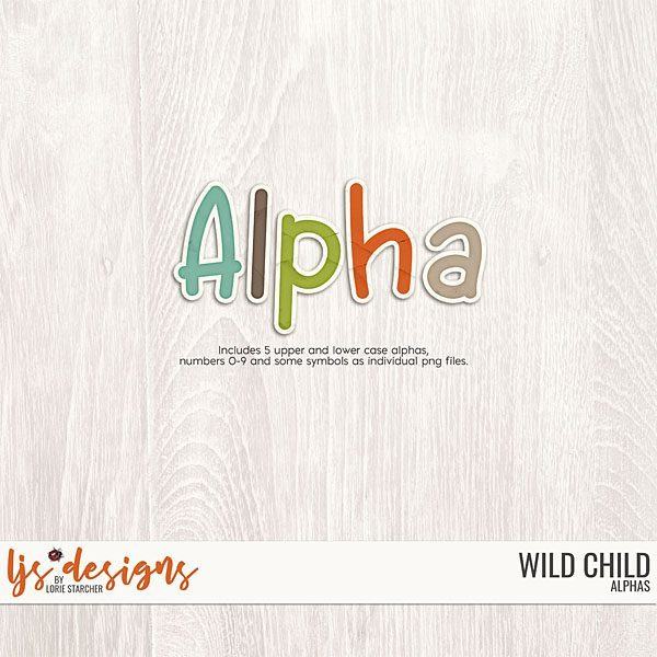 Wild Child 2.0 Alphas Digital Art - Digital Scrapbooking Kits