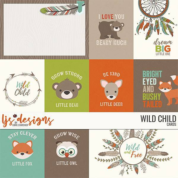 Wild Child 2.0 Cards Digital Art - Digital Scrapbooking Kits