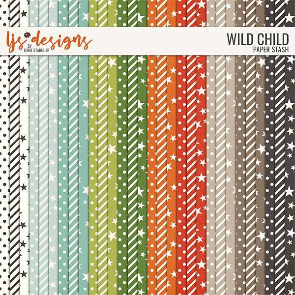 Wild Child 2.0 Paper Stash Digital Art - Digital Scrapbooking Kits