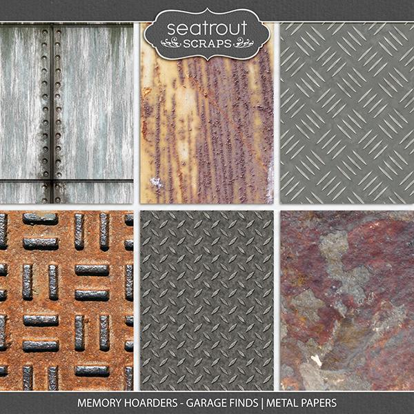 Memory Hoarders - Garage Finds Metal Papers Digital Art - Digital Scrapbooking Kits