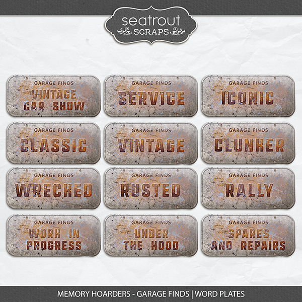Memory Hoarders - Garage Finds Word Plates Digital Art - Digital Scrapbooking Kits