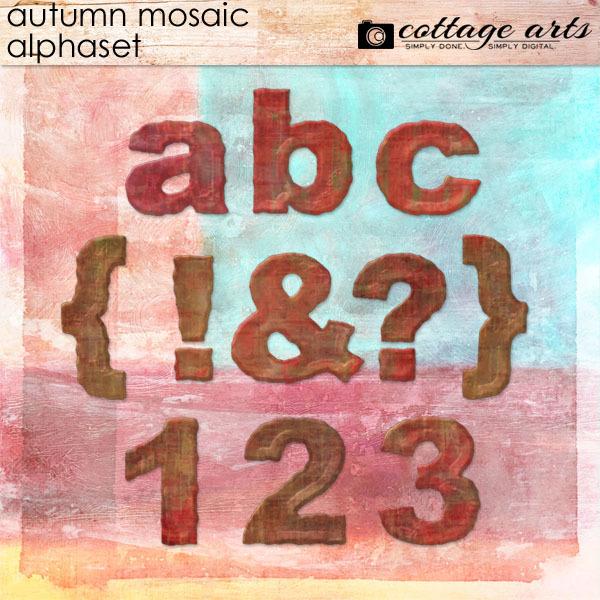 Autumn Mosaic Alphaset Digital Art - Digital Scrapbooking Kits