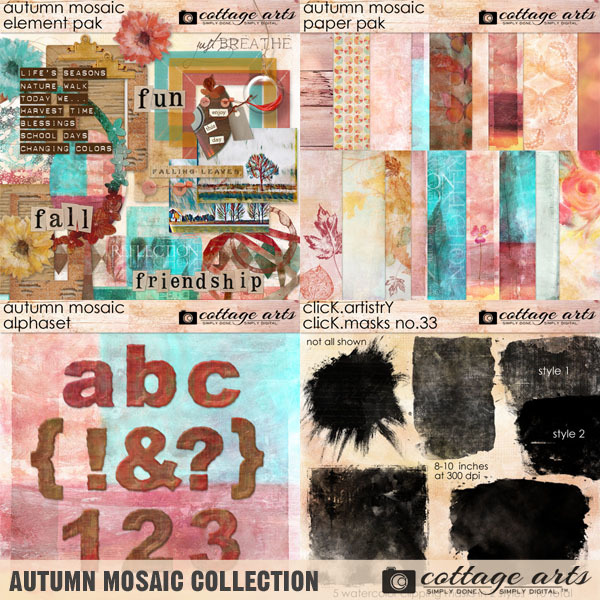 Autumn Mosaic Collection Digital Art - Digital Scrapbooking Kits