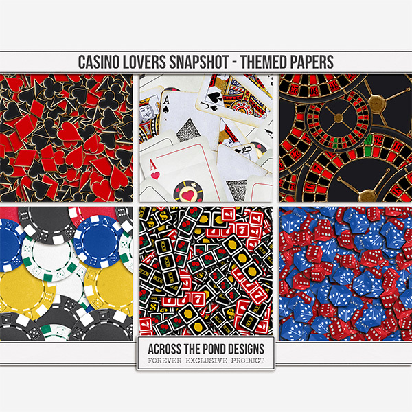Casino Lovers Snapshot - Themed Papers Digital Art - Digital Scrapbooking Kits