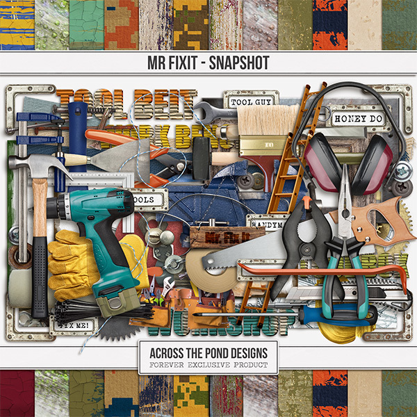 Mr. Fix-it Snapshot Page Kit Digital Art - Digital Scrapbooking Kits