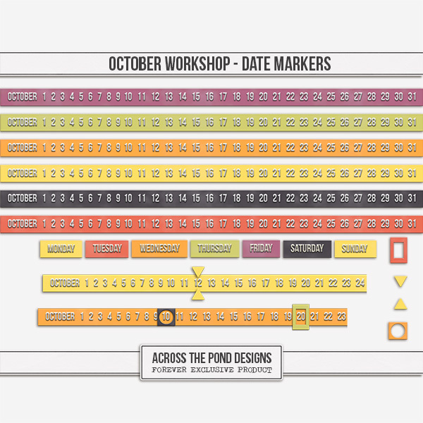 October Workshop - Date Markers Digital Art - Digital Scrapbooking Kits