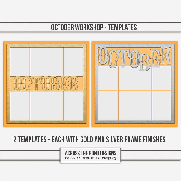 October Workshop - Templates Digital Art - Digital Scrapbooking Kits