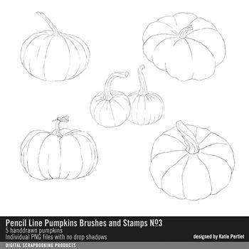 Pencil Line Pumpkins Brushes And Stamps No. 03 Digital Art - Digital Scrapbooking Kits