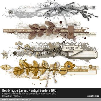 Readymade Layers Neutral Borders No. 05 Digital Art - Digital Scrapbooking Kits