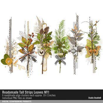 Readymade Tall Strips Leaves No. 01 Digital Art - Digital Scrapbooking Kits