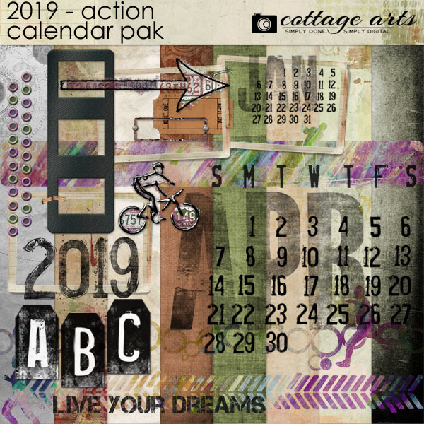 2019 Action Calendar Pak Digital Art - Digital Scrapbooking Kits