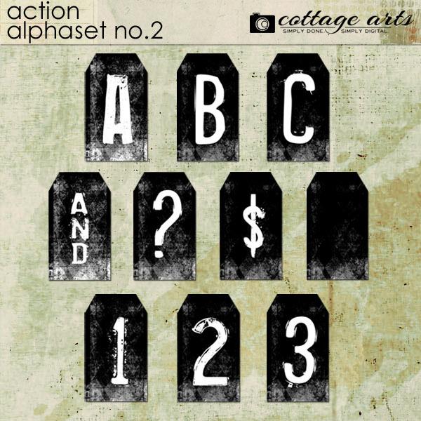 Action Alphaset 2 Digital Art - Digital Scrapbooking Kits