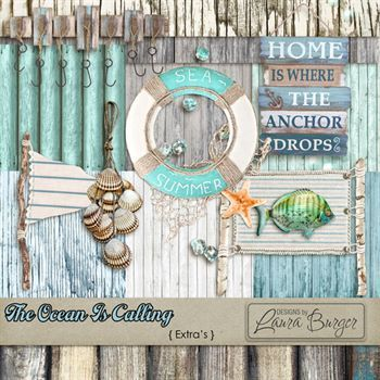 The Ocean Is Calling Extras Digital Art - Digital Scrapbooking Kits