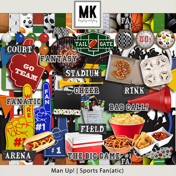 Sports Fanatic Digital Art - Digital Scrapbooking Kits