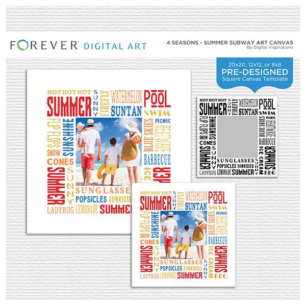 4 Seasons - Summer Subway Art Canvas Digital Art - Digital Scrapbooking Kits