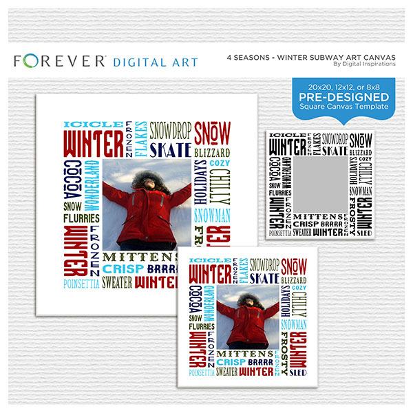 4 Seasons - Winter Subway Art Canvas Digital Art - Digital Scrapbooking Kits