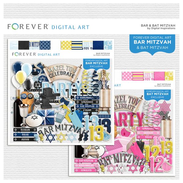 Bar & Bat Mitzvah Bundle Digital Art - Digital Scrapbooking Kits
