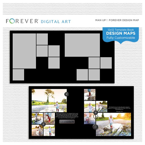 Man Up Design Map 12x12 Digital Art - Digital Scrapbooking Kits