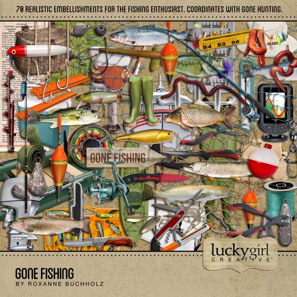Gone Fishing Digital Art - Digital Scrapbooking Kits
