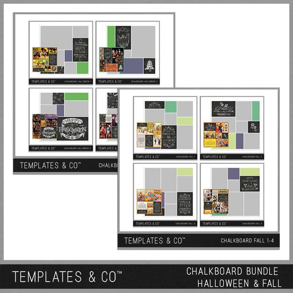 Chalkboard Bundle Halloween & Fall Digital Art - Digital Scrapbooking Kits