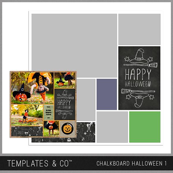 Chalkboard Halloween 1 Digital Art - Digital Scrapbooking Kits