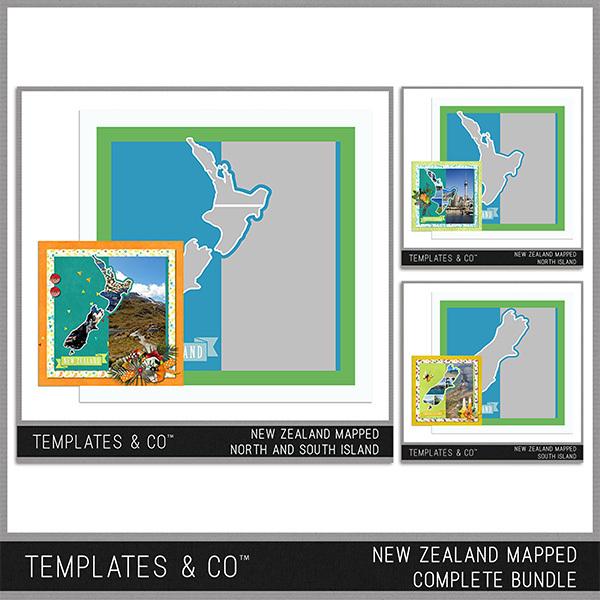 New Zealand Mapped - Complete Bundle Digital Art - Digital Scrapbooking Kits