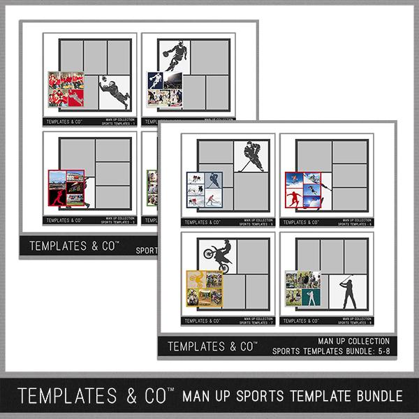 Man Up Sports Template Bundle Digital Art - Digital Scrapbooking Kits