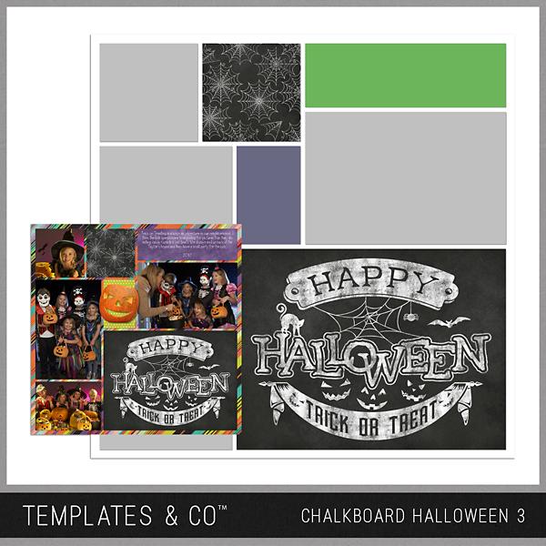 Chalkboard Halloween 3 Digital Art - Digital Scrapbooking Kits