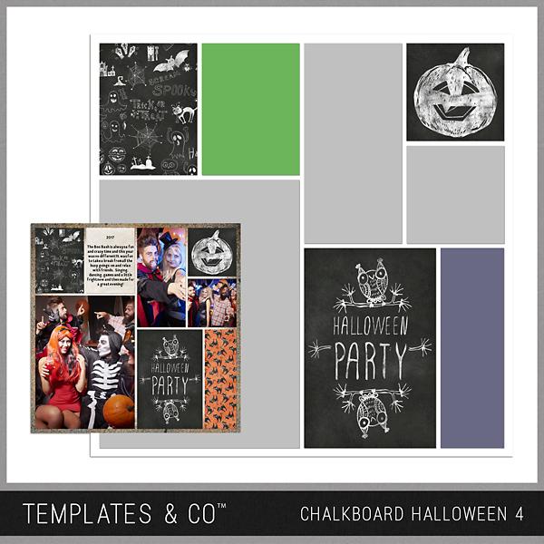 Chalkboard Halloween 4 Digital Art - Digital Scrapbooking Kits