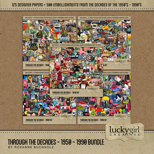 Through The Decades - 1950 - 1990 Bundle Digital Art - Digital Scrapbooking Kits