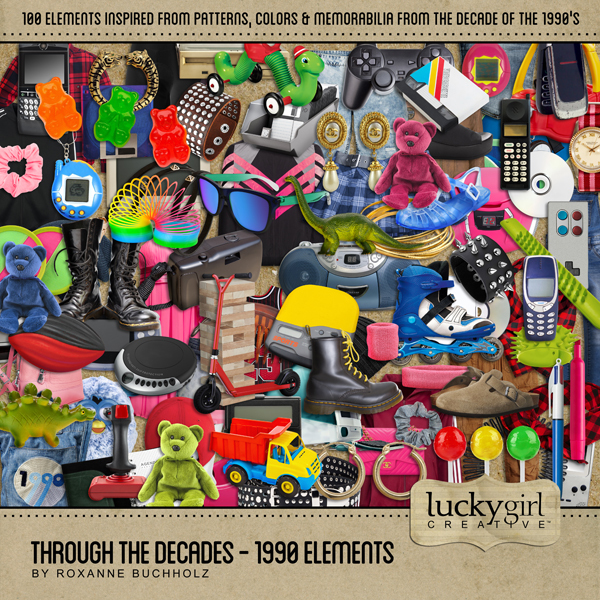 Through The Decades - 1990 Elements Digital Art - Digital Scrapbooking Kits