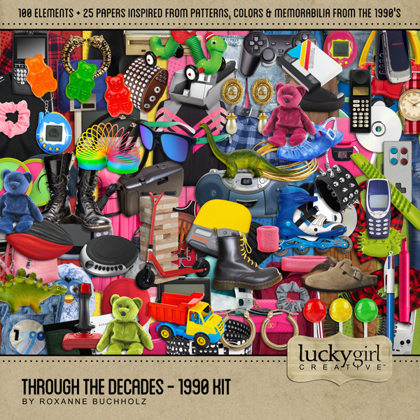 Through The Decades - 1990 Kit Digital Art - Digital Scrapbooking Kits