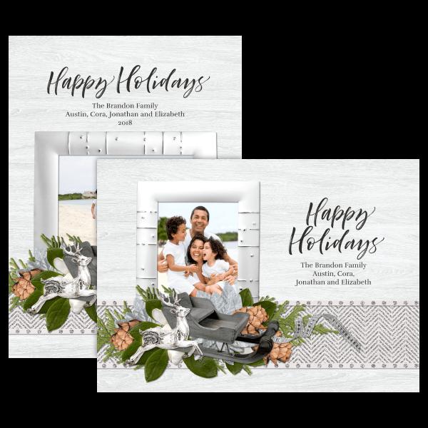 Silver Happy Holidays Card