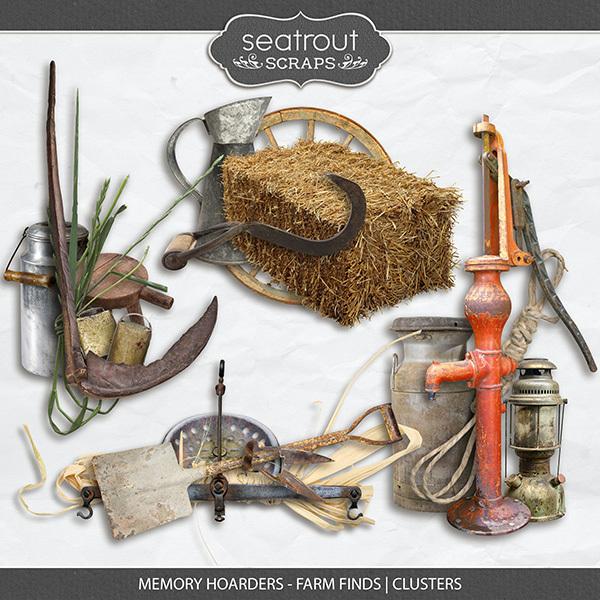 Memory Hoarders - Farm Finds Clusters Digital Art - Digital Scrapbooking Kits