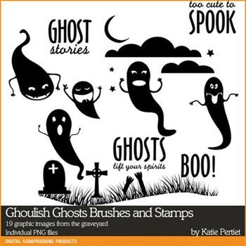 Ghoulish Ghosts Brushes And Stamps Digital Art - Digital Scrapbooking Kits