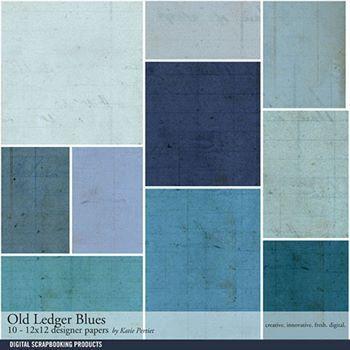 Old Ledger Blues Paper Pack Digital Art - Digital Scrapbooking Kits