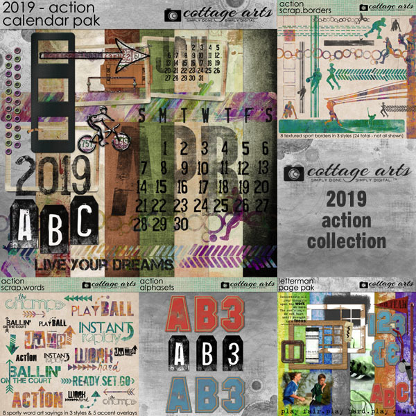 2019 Action Collection Digital Art - Digital Scrapbooking Kits