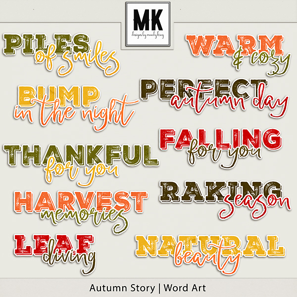 Autumn Story - Word Art Digital Art - Digital Scrapbooking Kits