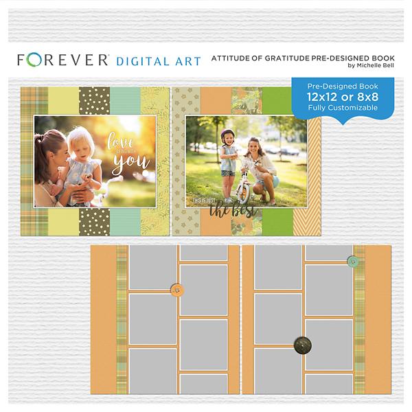 Attitude Of Gratitude Pre-designed Book Digital Art - Digital Scrapbooking Kits
